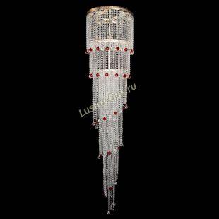 Каскадная люстра высотой от 2 м Милан каскад шар красный