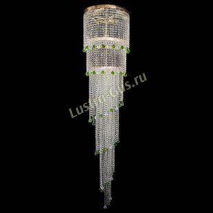 Каскадная люстра высотой от 2 м Милан каскад шар зеленый