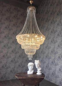 Хрустальная люстра  Водопад с подвесом Гусь-Хрустальный в интерьере квартиры