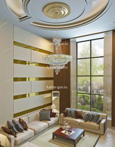 Хрустальная люстра Водопад с подвесом диаметр 1 метр (завод Гусь-Хрустальный) в интерьере квартиры с высоким потолком