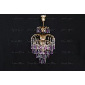 Хрустальные брызги с подвесом журавлик фиолетовый
