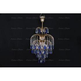 Люстра Хрустальные брызги с подвесом журавлик синий