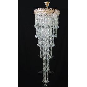 Подвесная люстра Капель 5 ламп шар 40 мм длинная
