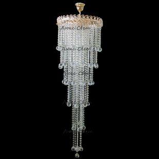 Люстра длинная Капель 5 ламп шар 40 мм длинная