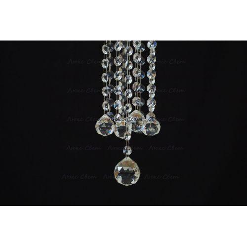 Люстра Капель 5 ламп шар 40 мм длинная