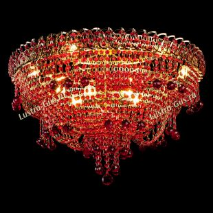 Подвесная люстра хрустальная Водопад Софья красная