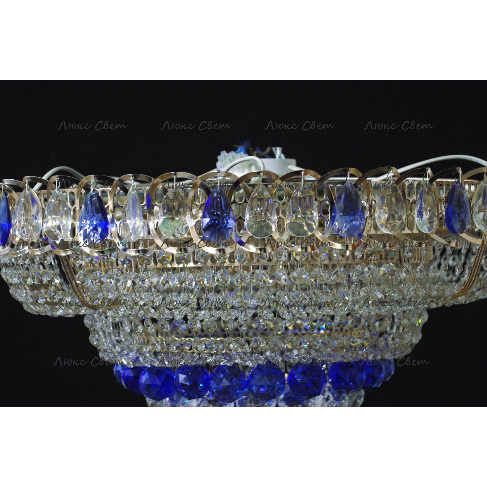 Люстра Кольцо пирамида шар 40 мм синяя