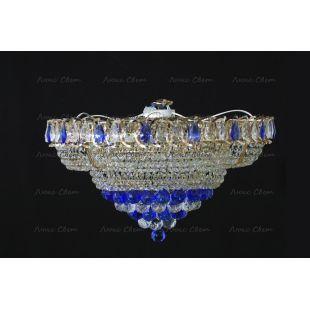 Люстра потолочная Кольцо пирамида шар 40 мм синяя