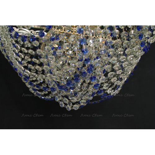 Люстра Квадрат Бриз 5 ламп синяя