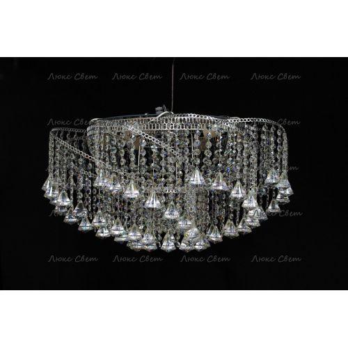 Люстра Космос конус, Диаметр 700 мм, 6 ламп, серебро