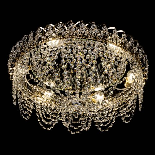 Люстра Алиса оптикон, диаметр 500 мм, цвет золото Гусь Хрустальный