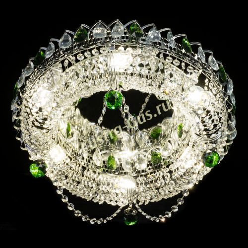 Люстра Глория №1 зеленая, диаметр - 500 мм, цвет фурнитуры - серебро, Люстры Гусь Хрустальный