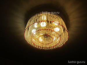 Хрустальная люстра Капель обтикон 5 ламп (завод Гусь-Хрустальный) в интерьере квартиры
