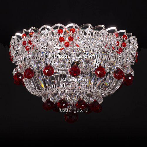 Люстра Катерина шар красная, диаметр 400 мм, цвет серебро