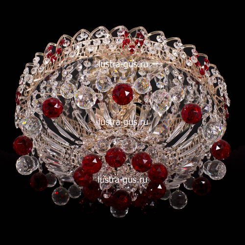 Люстра Катерина шар красная, диаметр 450 мм, цвет золото