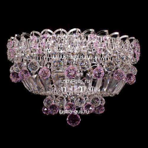 Люстра Катерина шар розовая, диаметр 400 мм, цвет серебро