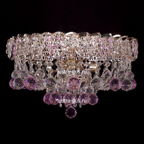 Люстра Катерина шар розовая, диаметр 450 мм, цвет золото