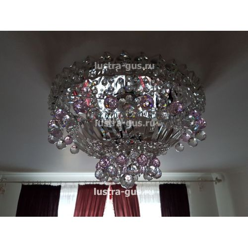 Люстра Катерина шар розовая, диаметр 450 мм, цвет серебро