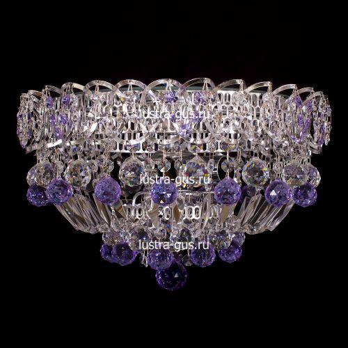 Люстра Катерина шар сиреневая, диаметр 400 мм, цвет серебро