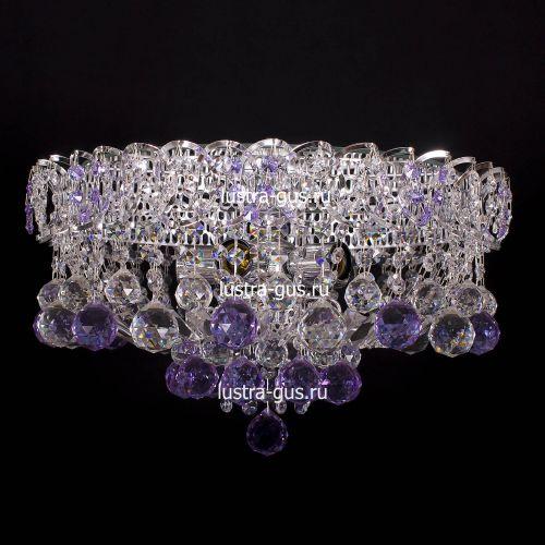 Люстра Катерина шар сиреневая, диаметр 450 мм, цвет серебро