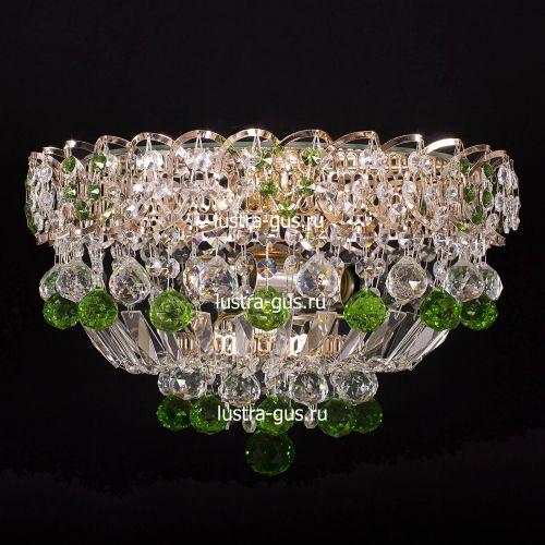 Люстра Катерина шар зеленая, диаметр 400 мм, цвет золото