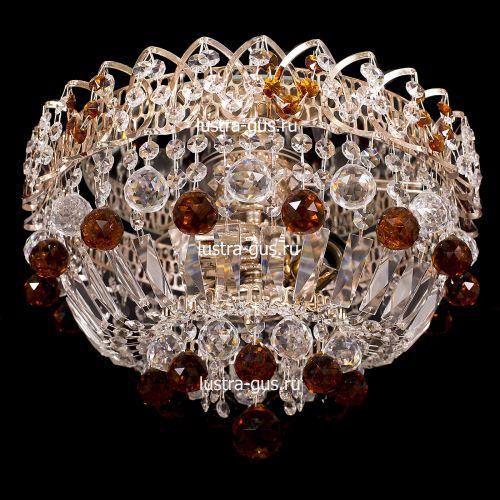 Люстра Катерина шар, диаметр 450 мм, чайные подвески Гусь Хрустальный
