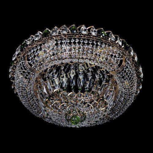 Люстра Кольцо Классика зеленая, диаметр 600 мм, подвески зеленого цвета Гусь Хрустальный
