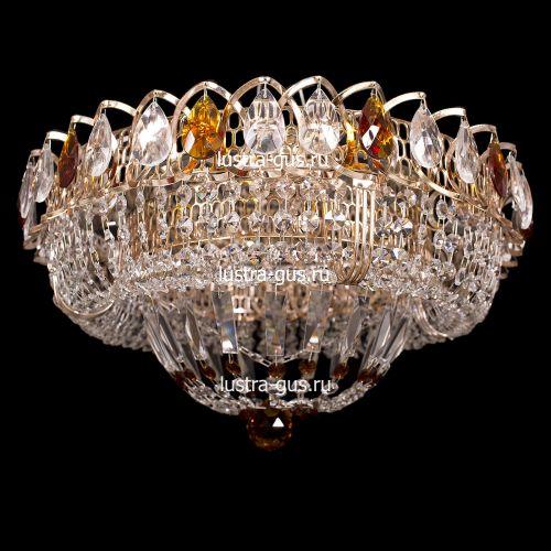 Люстра Классика цветная, диаметр 400 мм, с подвесками чайного цвета Гусь Хрустальный