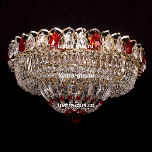 Люстра Кольцо Купол красная, диаметр 450 мм, цвет золото, Люстры Гусь Хрустальный