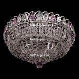 Люстра Кольцо Купол, диаметр 450 мм, подвески розового цвета, Люстры Гусь Хрустальный