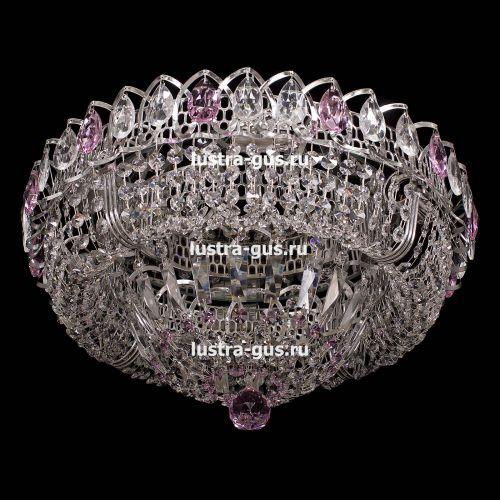 Люстра Кольцо Купол, диаметр 450 мм, подвески розового цвета