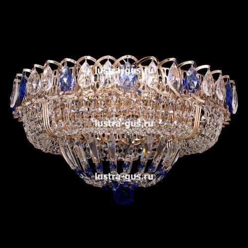 Люстра Кольцо Купол, диаметр 450 мм, подвески синего цвета, Люстры Гусь Хрустальный