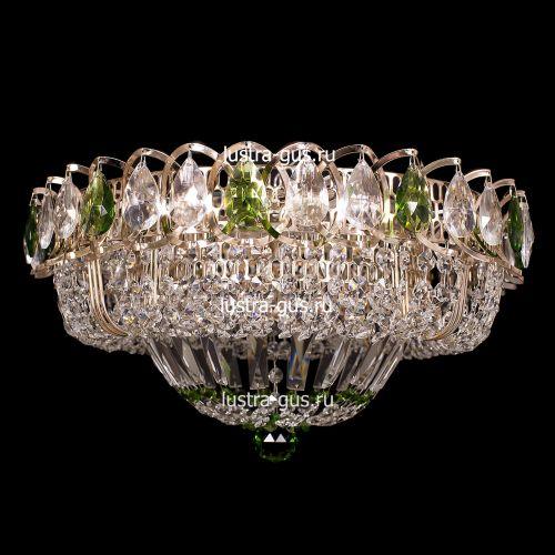 Люстра Кольцо Купол, диаметр 400 мм, подвески зеленого цвета, Люстры Гусь Хрустальный