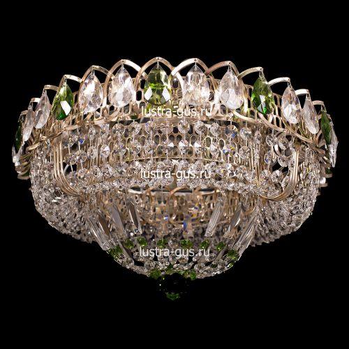 Люстра Кольцо Купол, диаметр 400 мм, подвески зеленого цвета