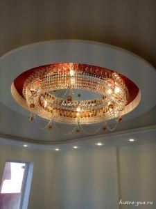 Хрустальная люстра Кольцо Блин, диаметр, 1 метр (завод Гусь-Хрустальный) в интерьере квартиры