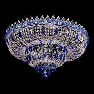 Люстра хрустальная Корона Водопад синий