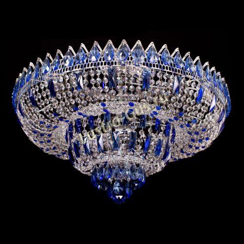 Люстра Корона Водопад синий - золото Гусь Хрустальный