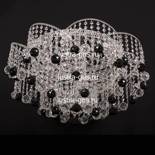 Люстра Космос шар 40 мм черная, диаметр 700 мм, цвет серебро, Люстры Гусь Хрустальный