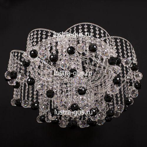 Люстра Космос шар 40 мм черная, диаметр 700 мм, цвет серебро