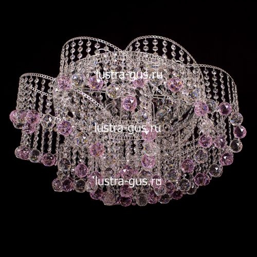 Люстра Космос шар 40 розовая, диаметр 700 мм, цвет золото