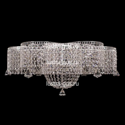 Люстра Лотос, диаметр 700 мм, цвет серебро Гусь Хрустальный