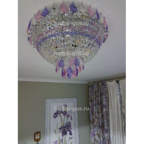 Люстра Катерина дубик цветная, цвет фурнитуры: серебро