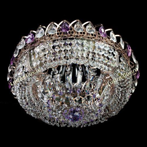 Люстра Кольцо Купол фиолетовая, диаметр 450 мм, цвет золото