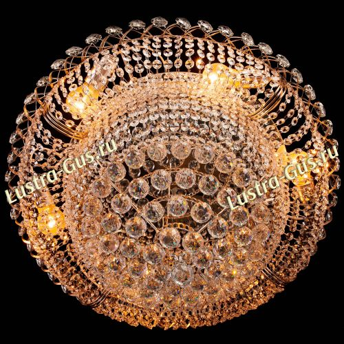 Люстра Кольцо пирамида шар 30 мм: Диаметр - 600 мм, Цвет - золото, Люстры Гусь Хрустальный