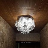 Люстра Космос конус, Диаметр 520 мм, 5 ламп, серебро, Люстры Гусь Хрустальный