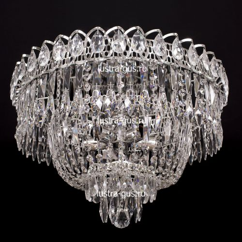 Люстра Водопад Перо, диаметр 450 мм,  цвет серебро, Люстры Гусь Хрустальный