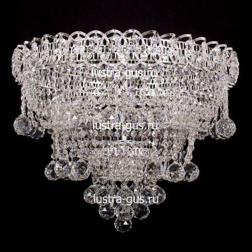 Люстра Водопад Софья, диаметр 450 мм, цвет серебро Гусь Хрустальный