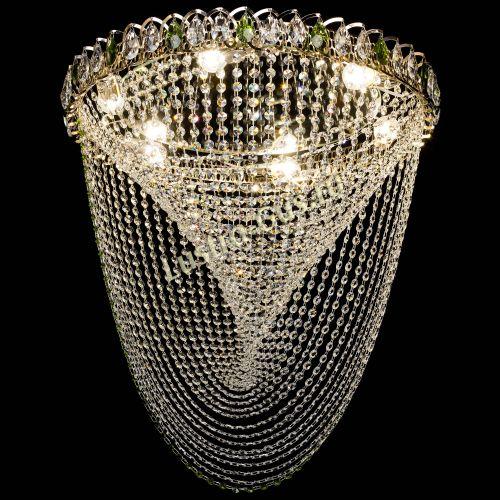 Люстра Жасмин Веер зеленый, диаметр - 600 мм, цвет - золото Гусь Хрустальный